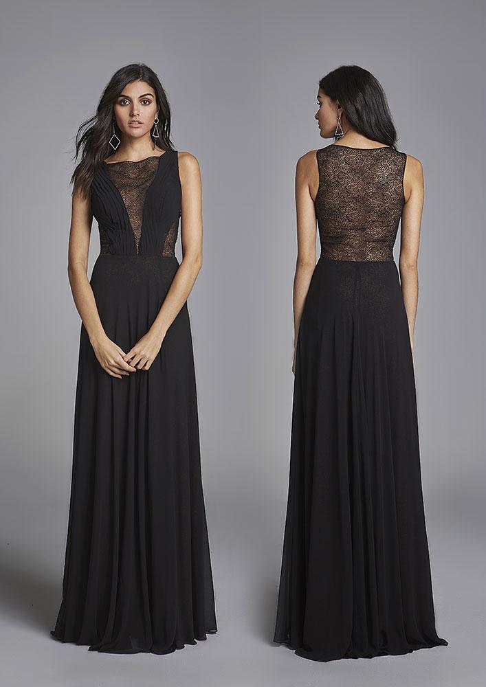 443d1e56f Vestido preto longo com rendas, sem manga - A4404 - Happy End ...