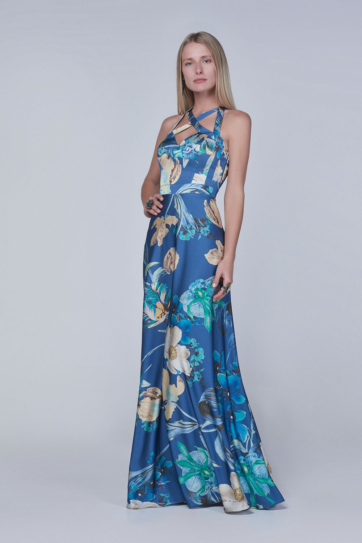116b98435 Vestido de festa azul sem manga estampa floral - Ref. A4390 - Happy End  Atelier Aluguel de Roupas Femininas Rio de Janeiro