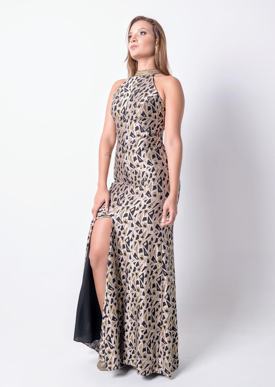 68bd3d40a Vestido de festa preto com dourado longo sem mangas - Ref. A4407 ...